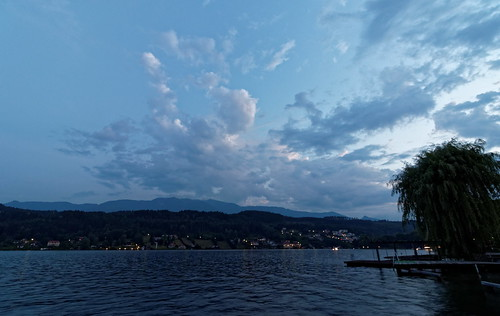 sunset lake water clouds austria carinthia millstättersee millstatt