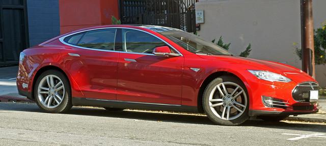 Tesla Model S electric car at Berkeley, San Francisco Bay Area