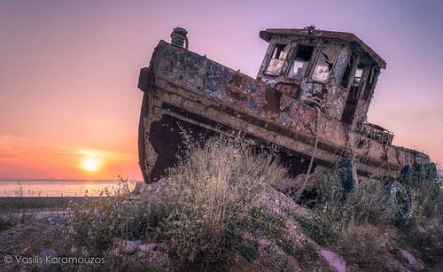 old sunset sea sun colors port landscape boat nikon ship greece wreck hdr patra d3200