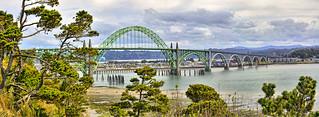 Panorama of Yaquina Bay Bridge   by Kirt Edblom