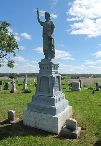 county blue trees ohio sky monument cemetery grave field grass statue clouds forest fence landscape book view scenic headstones places farmland historic mount national tabor hunter salem champaign register ornate tombstones gravestones moraine hilltop township zinc drapery nrhp