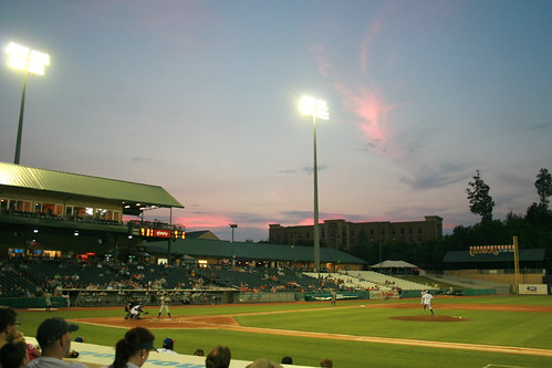 sunset baseball dusk stadium tennessee seviercounty firstgame tennesseesmokies smokiesballpark