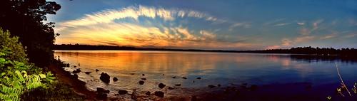 panorama lake sunset sun nature landscape massapoag