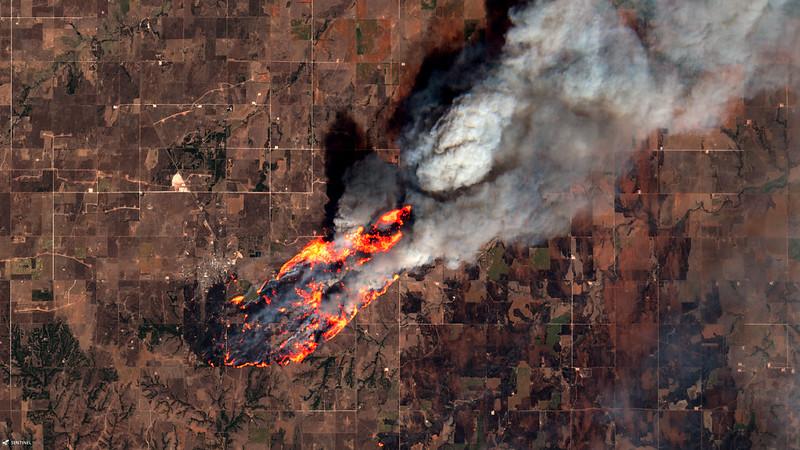Wildfires West of Putnam, Oklahoma, USA