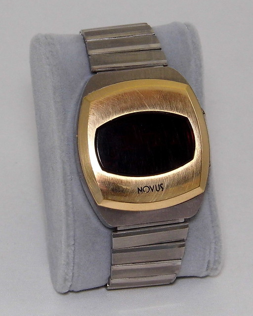 Vintage Novus Men's Digital Quartz Watch, Red LED Display, National Semiconductor Module (Thailand), Createc SA Swiss Case, Circa 1970s