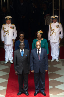 President Jacob Zuma welcomes President Robert Mugabe on a State Visit to South Africa, 8 Apr 2015