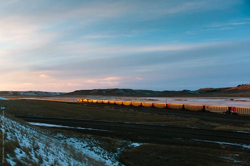 railroad sunset us unitedstates wyoming bnsf westbound gillette rozet prb coaltrain sd70ace powderriverbasin blackhillssubdivision powderriverdivision donkeycreekjct orinsubdivision bnsf8547