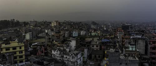 nepal city big colour building chaos sunrise twilight