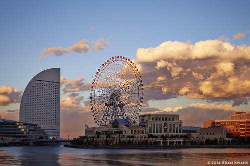 sunset japan clouds yokohama minatomirai