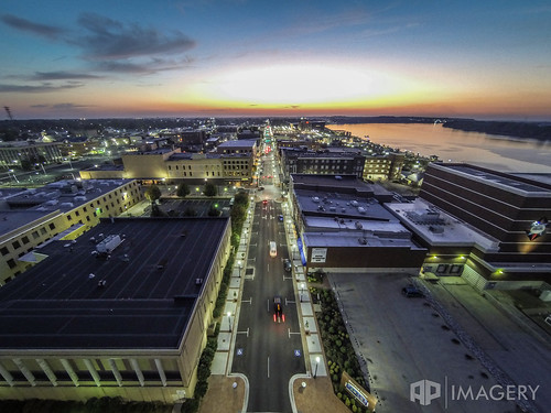 sunset downtown aerial mainst ohioriver owensboro 2ndst