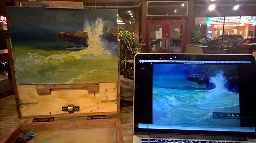 Me at a Cafe painting with Richard Robinson's videos | by zedshaw