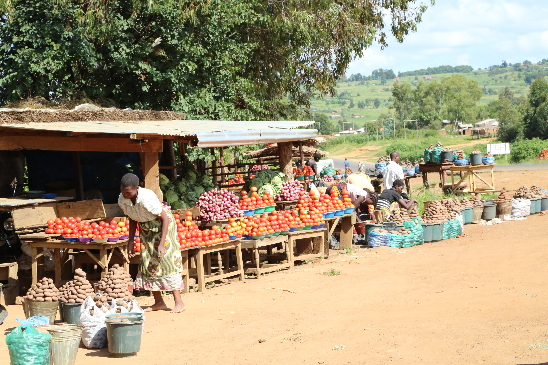 Wome sell vegetables at a roadside market in Linthipe EPA Malawi (Photo credit: IITA/Jonathan Odhong')