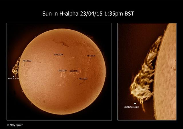 Sun in H-alpha 1:35pm BST 23/04/15