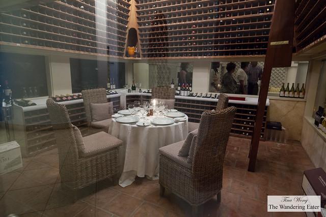 Private dining area in the wine cellar