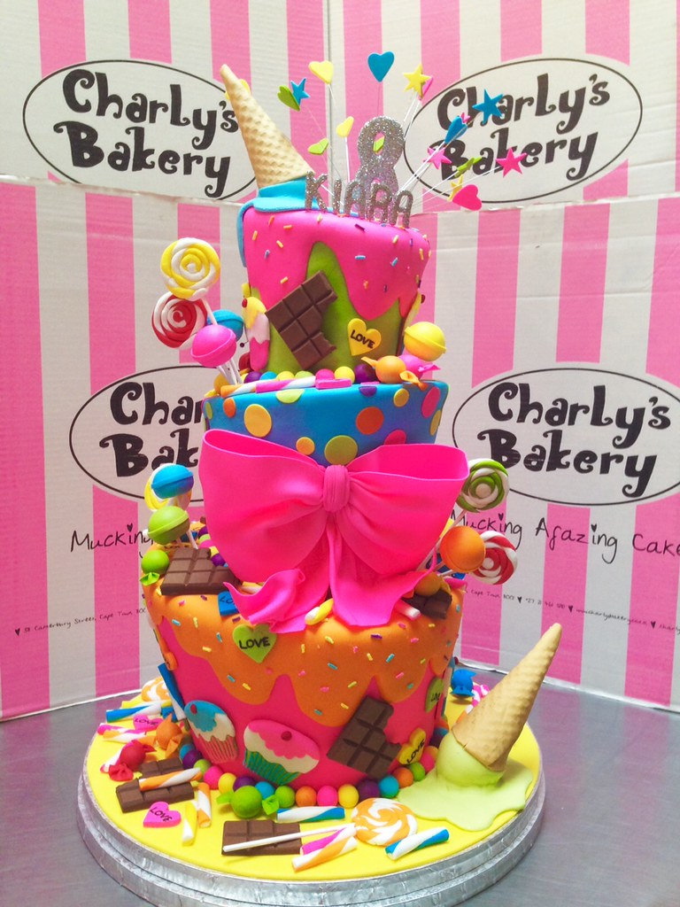 Admirable 3 Tier Candy Land Themed 8Th Birthday Cake Charlys Bakery Flickr Birthday Cards Printable Opercafe Filternl