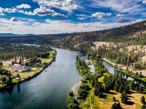 aerial blue ninemilefalls sky spokaneriver summer unitedstates usa washington water