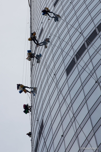 Window cleaners on the Sky Tower in Wroclaw, Polan