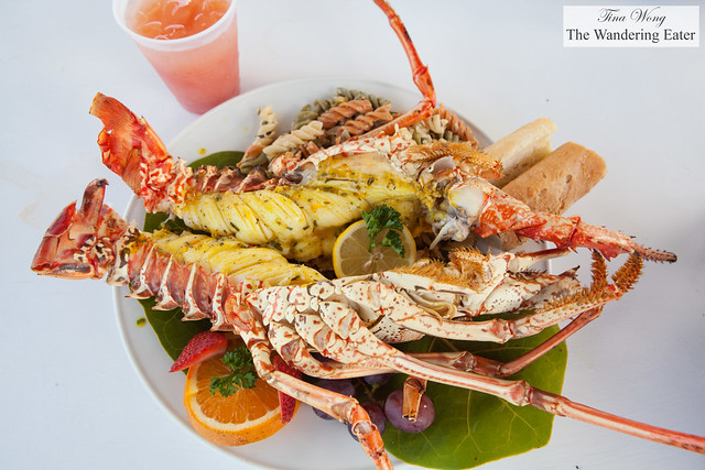 Grilled (huge) Anguilla lobster and Gorgeous' rum punch