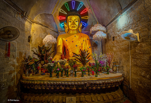 Electric neon Buddha in temple at Mrauk U, Myanmar | by Phil Marion (177 million views - THANKS)