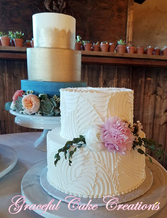 Elegant White Butter Cream Wedding Cake With A Piped Geome Flickr