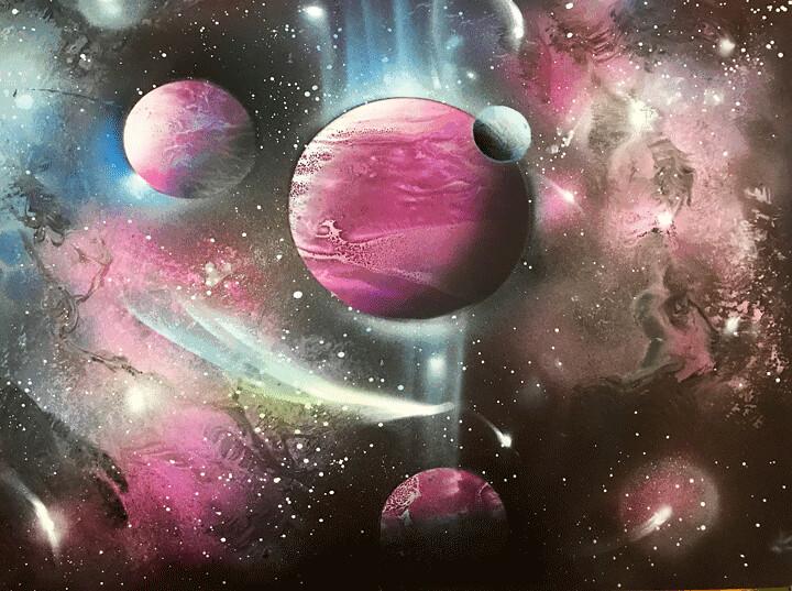 Purple Galaxy Spray Paint Art Created By Alisa Amor Using