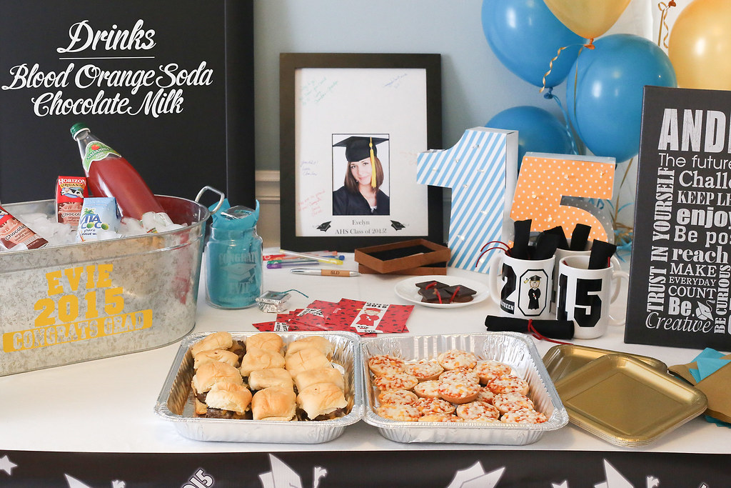graduation party table with steel tub full of drinks, deco ...