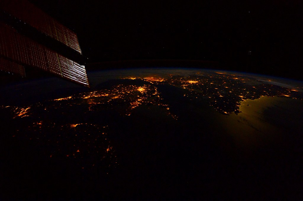 Approaching Europe last February, with the moonlight caressing the Atlantic Coast of France.