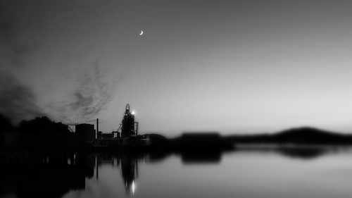 longexposure light sky blackandwhite bw moon black blur building industry water monochrome norway night clouds reflections dark photography dawn lights mono mirror abend licht photo seaside scenery long exposure mood foto view nacht withe horizon tripod norwegen scene location panasonic noruega environment fjord contrasts ts schwarz fjords blackandwithe