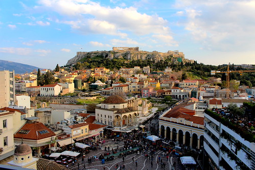 city sunset cityscape view time hill athens panoramic parthenon greece acropolis