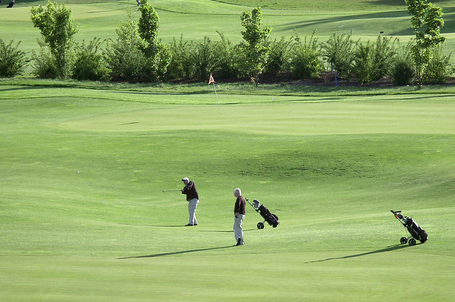 Golfplatz zwei Golfspieler
