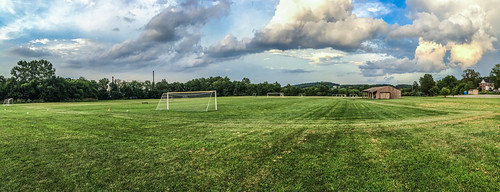 springgrove pennsylvania unitedstates us soccer field complex spring grove pa town friday night training sky clouds grass colors iphoneography iphone panorama