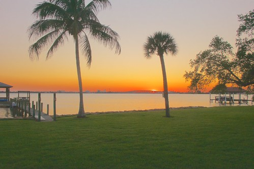 sunset river dock florida palmtree indianriver indialantic