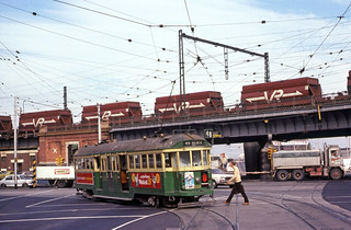 Melbourne and Metroplitan Tramways Board W2 class tram No 350 turning from Spencer Street into Flinders Street, Melbourne, Victoria, Australia.
