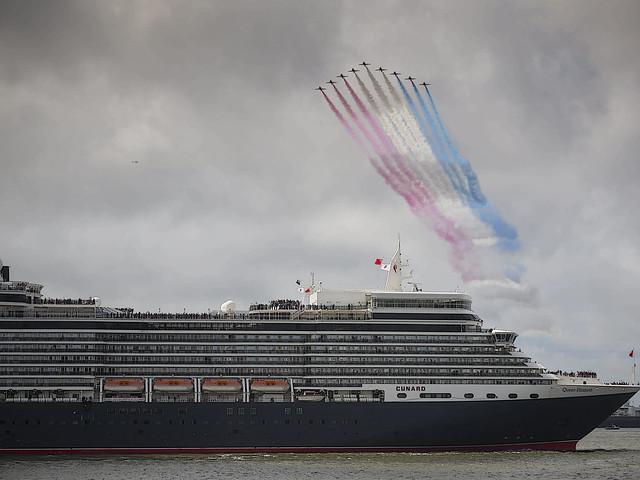 Queen Elizabeth and Red Arrows Liverpool.