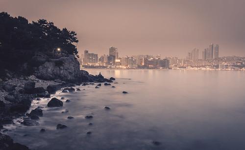 mermaid haeundae busan south korea asia beach summer evening sunset dusk long exposure waves sea ocean water waterscape landscape cityscape