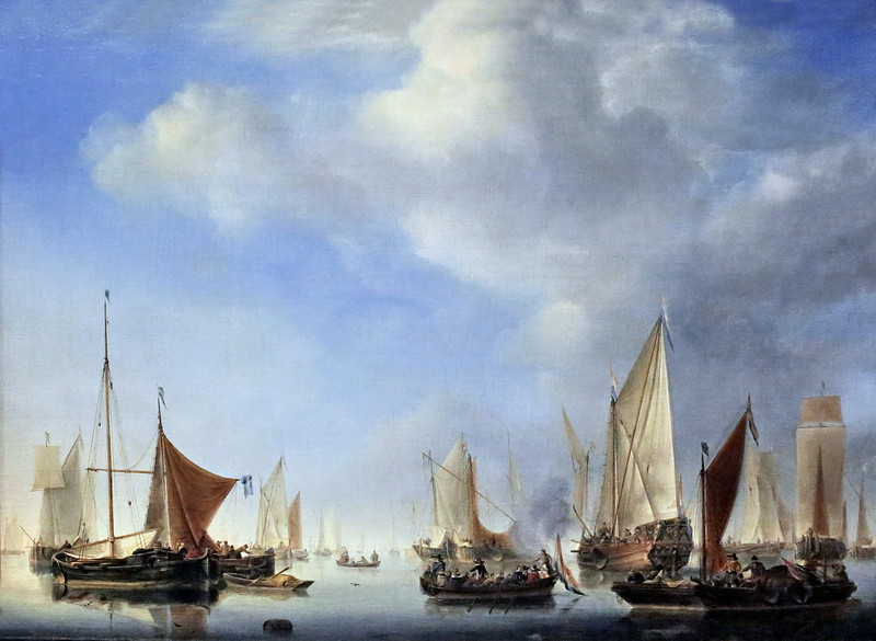 IMG_2884A Willem van de Velde II. 1633-1707  Leyde. Londres.   Marine.  La petite flotte. The small fleet. 1657.  Montpellier. Musée Fabre.