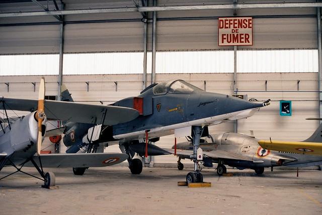 Jaguar-M M-05/J ex Aéronavale/ French Navy/ SEPECAT. Stored in hangar, Rochefort-Soubise, France. 29-05-2000.