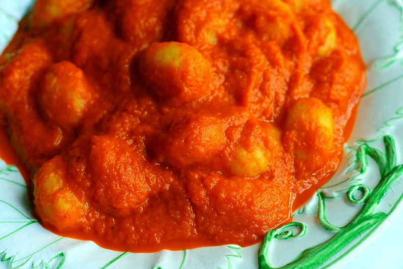 Gnocchi with celery & red pepper sauce