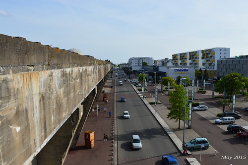 The Saint-Nazaire U-Boat pens as seen from the bridge.
