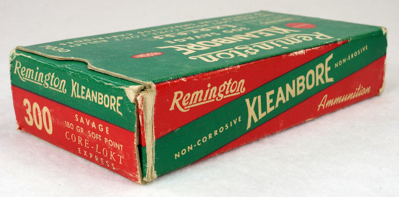 RD14570 Vintage Remington Kleanbore 300 Savage Express 180 Gr. Soft Point Ammo Box with 20 Empty Brass Casings DSC06998