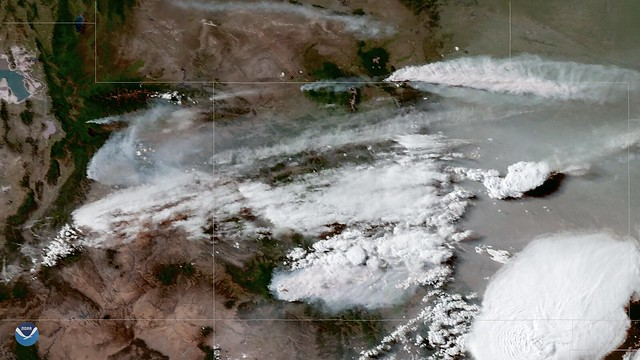 Wildfire Smoke Blows Across the Central Rockies