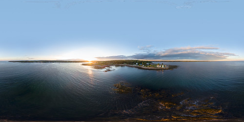 360 dji maine newengland prospectharbor vr aerial coast drone equirectangular harbor lighthouse ocean panorama sunset unitedstates usa