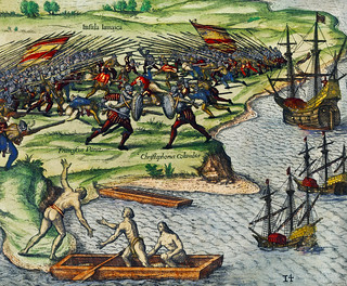 Battle between Francisco Poras and Columbus on Jamaica illustration from Grand voyages (1596) by Theodor de Bry (1528-1598).