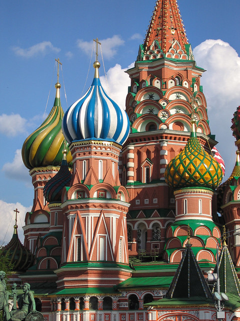 The beautiful turrets of St Basil's Cathedral, Red Square, Moscow