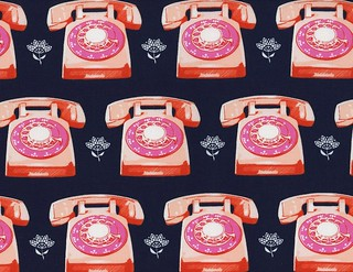 cotton-and-steel-melody-miller-trinket-telephones-cotton-fabric-navy-89320 | by msminnesota