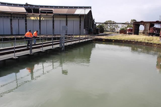 Flooded turntable & damaged roundhouse