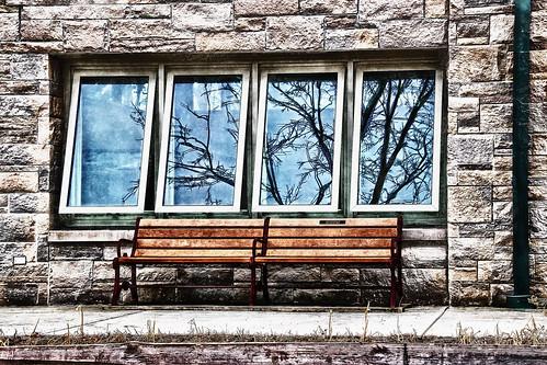 windows reflection building texture window architecture photomanipulation photoshop bench stones walls hbm hww filterforge happybenchmonday happywindowwednesday