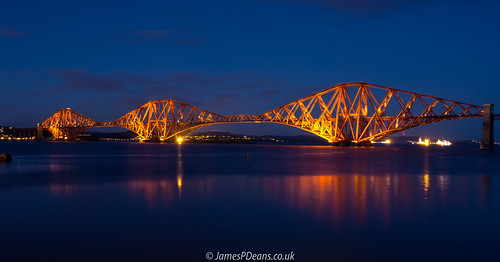 uk bridge light red sea man colour reflection history digital river landscape photography for james scotland europe unitedkingdom britain sale who railway calm estuary unesco downloads gb prints p bluehour roads everything has licence railwaybridge deans lothian firthofforth forthbridge southqueensferry nighttimeshot westlothian timeofday