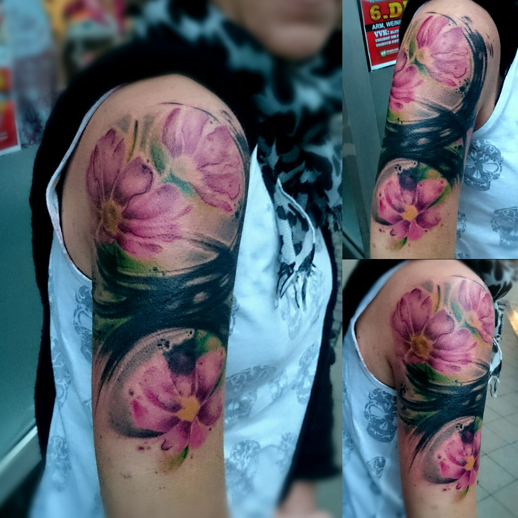 Watercolor Tattoo Abstract Cover Up Brush T