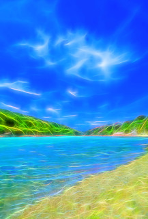 The Gannel estuary, Crantock , near Newquay, Cornwall.  Effects using Topaz Glow.   by Thomas Tolkien